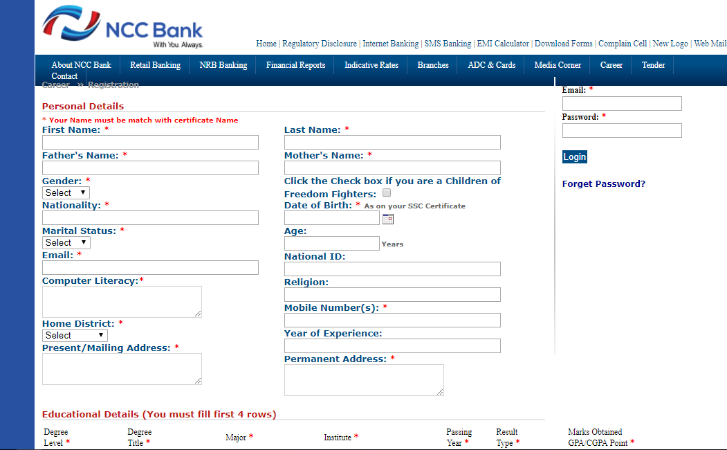 ncc bank ltd Ncc bank limited or national credit and commerce bank limited is a bangladeshi private commercial bank and also jobs circular has been published for 30 post.