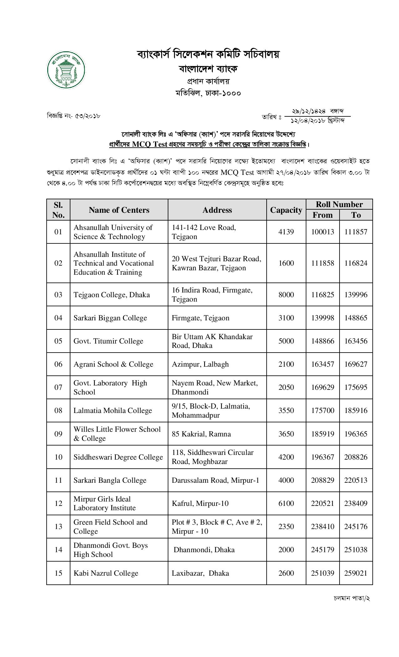 bank exam form date