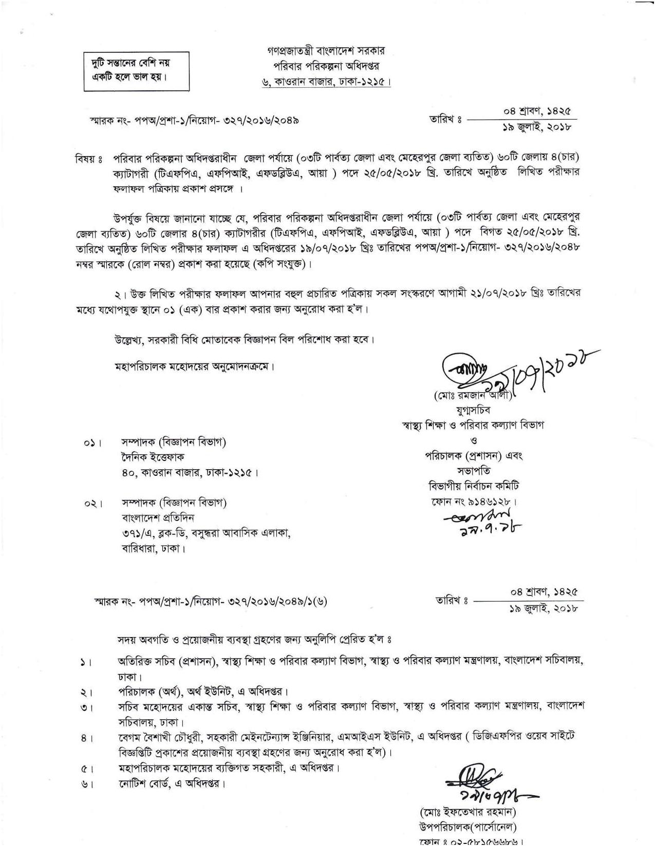 Directorate General of Family Planning (DGFP) Exam Result