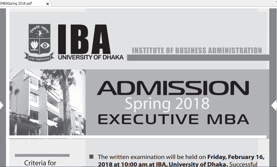 Cou Emba Admission Circular March 2018 Admission Exam