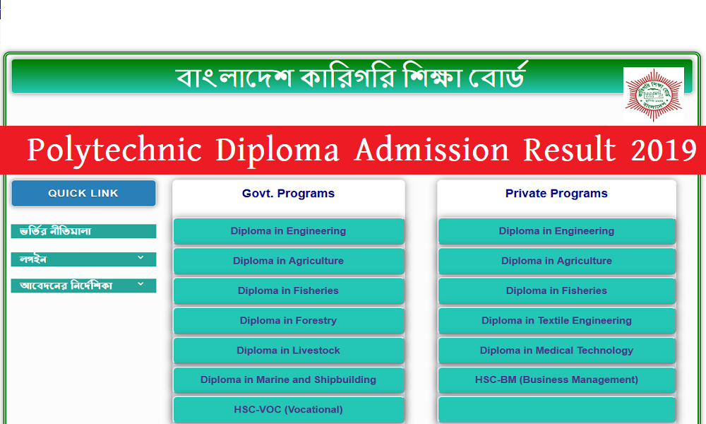 Polytechnic Diploma Admission Result 2019-20 - Jobs Test bd