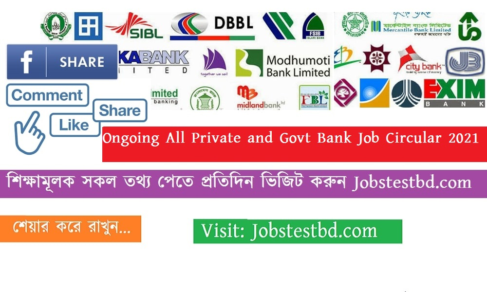 Ongoing All Private and Government Bank Job Circular 2021 in BD