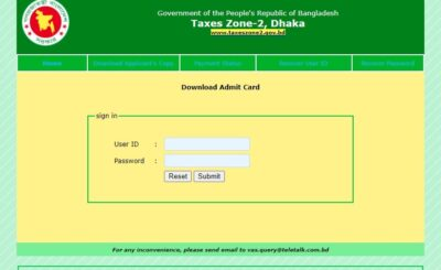 Taxes Zone-2 Dhaka Exam Date